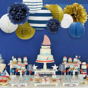 Navy blue, White and Gold Nautical  Party Decoration-Lantern & Tissue Pom Kit|Boys Birthday Party Set| Boys Baby Shower| Sailor Party Supply