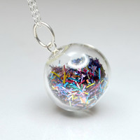 Mix color tinsel blown glass ball silver necklace by thestudio8