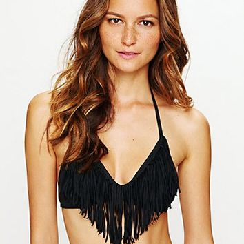 L*Space Womens Fringe Halter Top