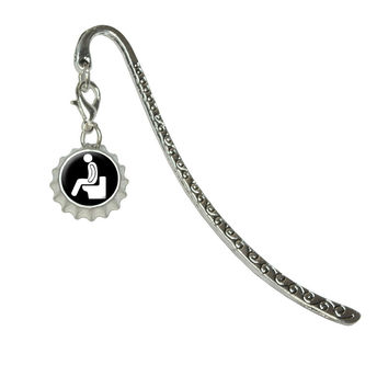 Poop - Pooping ToiletMetal Bookmark with Bottlecap Charm