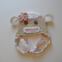 Girl Sock Monkey Hat  6-12 months or 1-4 years