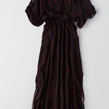 AEO Kimono Maxi Dress , Burgundy | American Eagle Outfitters