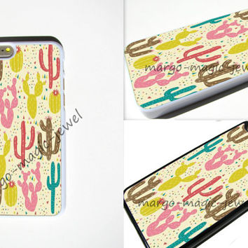 cover case fits iPhone models, unique mobile accessories, colorful, cactus