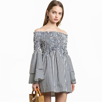 Fashion Lotus sleeves waist dress