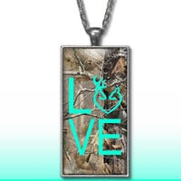 Camo Love Heart Pendant Charm Necklace Deer Head Browning Mint Country Girl Custom Necklace, Silver Plated Jewelry