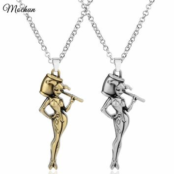 MQCHUN Suicide Squad Harley Quinn Comics Chain Necklace Pendant Vintage Silver Bronze Color Fashion Movie Jewelry 2017