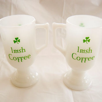 Two Unmarked Vintage White Irish Coffee Cups- Cute!! Great for St Patricks Day