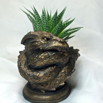 Coiled Dragon Planter, Bronze Finish