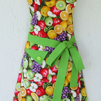 Colorful Fruit Apron, Women's Full Apron, Vintage Style, Retro Apron, KitschNStyle