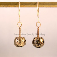 Candied Apples Dangle Earrings/ Yellow Bronze Candied Apples/ Goldfilled Ear Hoops