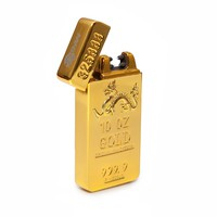 USB Rechargeable Windproof Flameless Gasless Arc Pulse Electronic Weatherproof Cigarette Lighter Pure Gold Model by TMW