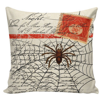 Pillow Cushion Halloween Orange Spider Web Stripe Cotton HA-90 RavenQuoth All Hallow's Eve Home Decor
