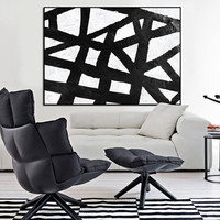 black and white abstract painting, extra large wall art, large painting on canvas, handpainting wall art, large wall art acrylic painting