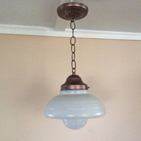 Vintage Antique Art Deco Pendant School Light Acorn Saucer Prismatic Glass 1930s