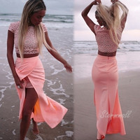 Lady Women's Sleeveless O-neck Beach Party Cocktail High Silt Skirt And Crochet Crop Top Set Dress Pink color S-XXL = 1955628932