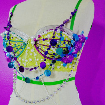 Green rave bra / rave costume / rave attire / edc / bedazzled bra