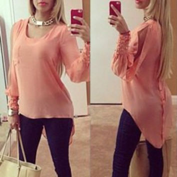 Watermelon Long Sleeve Chiffon Blouse