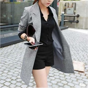 DCCKDZ2 2016 Hot Selling  Spring Women Casual Long Thin Blazers Coats Notched Collar Full Sleeve Single Button Fashion Cardigans   Y99