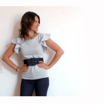 Oui Oui light blue stripes tshirt by MonicaMBoutique on Etsy