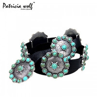 Patricia Wolf Turquoise Concho Collection Belt by Montana West PWB-B001