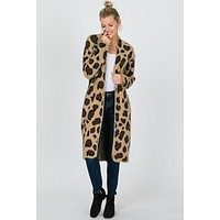 Long Leopard Print Cardigan - Brownimi
