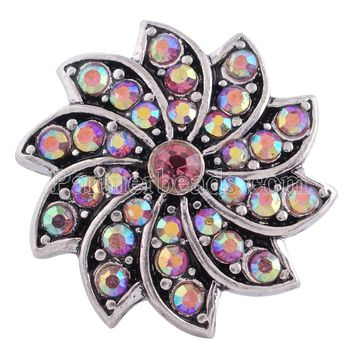 New rhinestone sun flower 18mm snap button snaps jewelry fit for snap button bracelets&bangles jewelry wholesale snaps KC6320