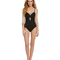 Kenneth Cole New York Sunset Cliffs Underwire Faux-Wrap One-Piece Swim