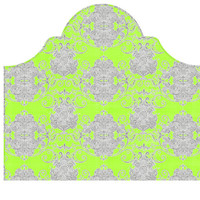 Wall Decal Headboard - Swirly Damask - Green and Gray - Twin Lite version Headboard