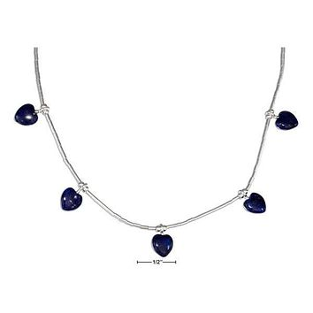"STERLING SILVER 16"" LIQUID SILVER AND BEADED LAPIS HEARTS NECKLACE"
