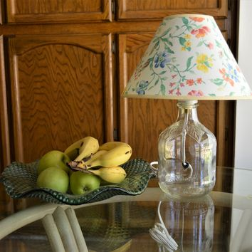 Clear Fillable Bottle Lamp with Floral Fabric Shade