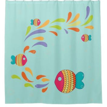 Whimsical Colorful Happy Fish Splash Any BG Color Shower Curtain