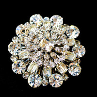 1950s Rhinestone Crystal Brooch Large and Glamorous