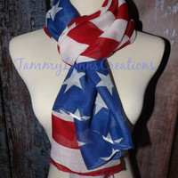 American Flag Infinity Scarf USA Soft Lightweight Infinity Loop or Long Patriotic Scarf July 4th Scarf