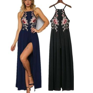 Summer Spaghetti Strap Criss Cross Strappy Back Maxi Dress with Floral Embroidery