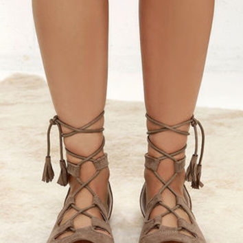 U.R.A.Q.T. Taupe Suede Lace-Up Flat Sandals