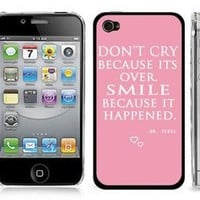 Dr. Seuss Pink Quote Design WHITE Snap-On Cover Hard Carrying Case for iPhone 4/4S - Smile