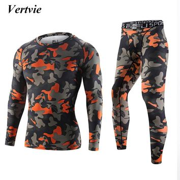 Men Camouflage Printed Breathable 2 Piece Set Quick Dry Compression Sports Set Hunting Camping Running Basketball Multicolor High Elastic Tops+ Pant
