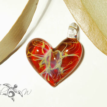 Ruby Red Heart Pendant - Glass Pendant - Glass Jewelry - Love & Energy - Borosilicate - Unique Jewelry - Glass Art - Lush Focal Bead