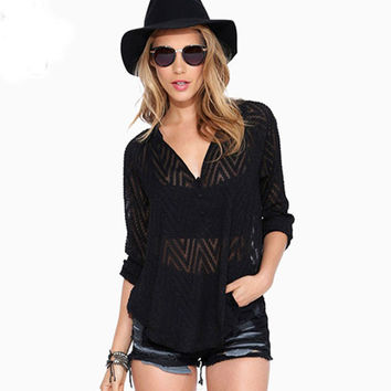 Black V-Neck Sheer Mesh Wave Patterned Long Sleeve Dovetail Loose Chiffon Top