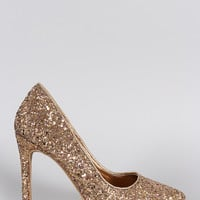Anne Michelle Glitter Pointy Toe Stiletto Pump