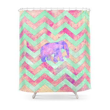 Society6 Whimsical Purple Elephant Mint Green Pink Chevron Shower Curtains