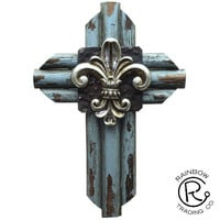 Fleur De Lis 12In Wall Cross