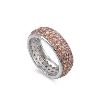925 Sterling Silver CZ All Pave Everything Simulated Champagne Diamond Ring 8MM