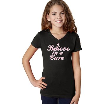 Girls Breast Cancer T-shirt Believe in a Cure V-Neck