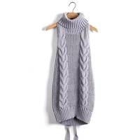 Turtleneck Sleeveless Long Virgin Killer Sweater