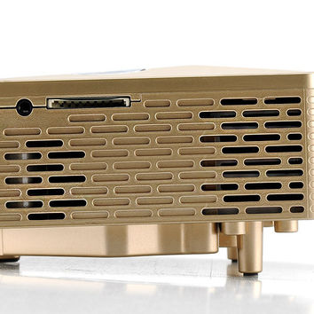 Mini 60 Lumens LED Projector - 400:1 Aspect Ratio, 5 Input Terminals, 20 To 80 Inch Projection, 1.67 Million Colors (Golden)
