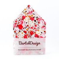 Pocket Handkerchief by BartekDesign Bright Pink Meadow Flowers