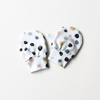 White organic no scratch mittens with dots, baby scratch mitts. Jersey cotton knit. Baby Gift Girl Boy Hand Covers. Baby shower present