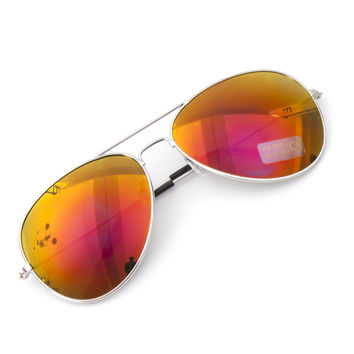 Aviator Metal Frame Flash Retro Mirrored Lens Sunglasses