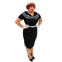 60's Vintage Inspired Pinup Sailor Navy Pencil Dress